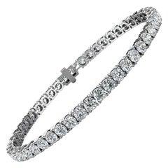 14 Karat White Gold Four Prongs Diamond Tennis Bracelet '7 Carat'