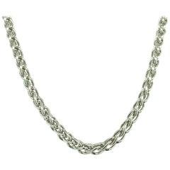 14 Karat White Gold Fox Tail Link Chain