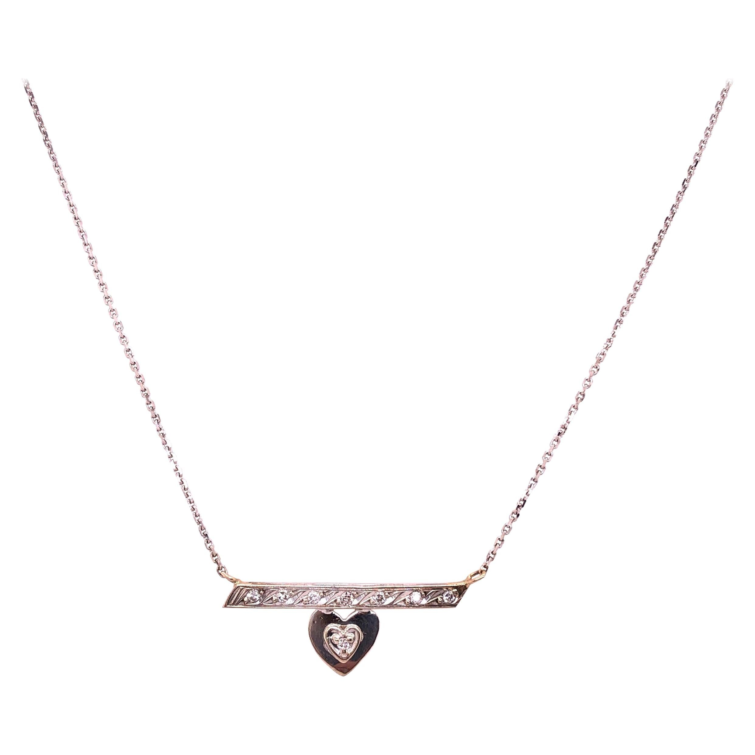 14 Karat White Gold Free Form Heart Charm with Diamonds Necklace