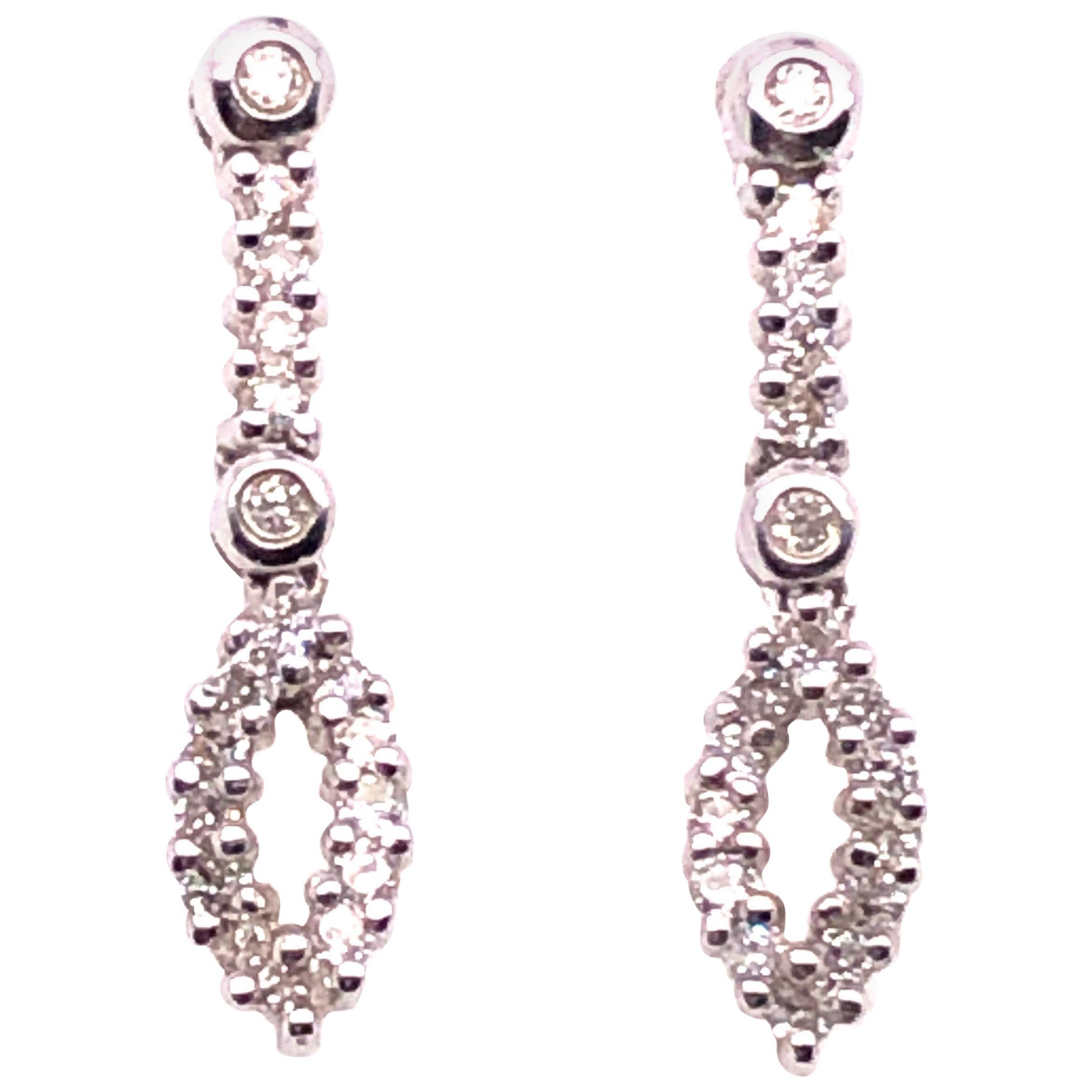 14 Karat White Gold Free Style Diamond Drop / Dangle Earrings