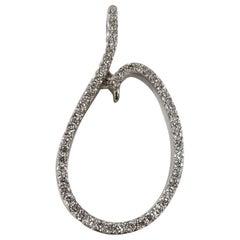 14 Karat White Gold Freeform Diamond Pendant