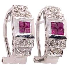 14 Karat White Gold French Back Half Hoop Ruby and Diamond Earrings