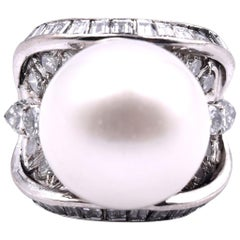 14 Karat White Gold Freshwater Pearl and Diamond Ring