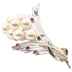 14 Karat White Gold Freshwater Pearl and Ruby Stylized Flower Pin