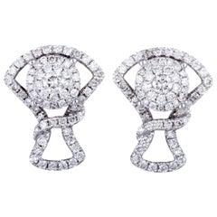 14 Karat White Gold Full, 1 Carat Diamond Pave Stud Earrings