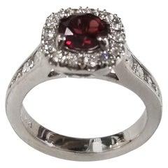 14 Karat White Gold Garnet and Diamond Halo Ring