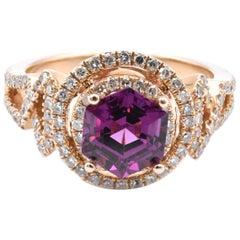 14 Karat White Gold Garnet and Diamond Ring