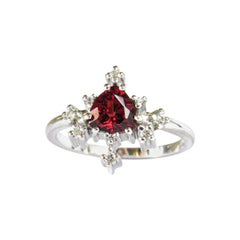 14 Karat White Gold Garnet and Diamonds Star Ring