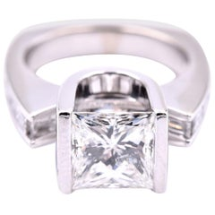 14 Karat White Gold Gauthier Princess Cut Diamond Engagement Ring