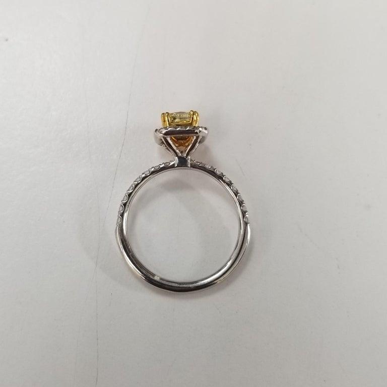 Cushion Cut 14 Karat White Gold GIA .90pts, Natural Fancy Yellow Diamond Halo Ring For Sale