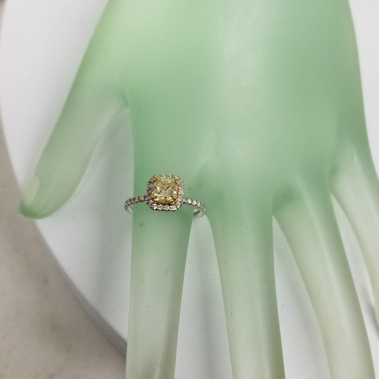 14 Karat White Gold GIA .90pts, Natural Fancy Yellow Diamond Halo Ring In New Condition For Sale In Los Angeles, CA