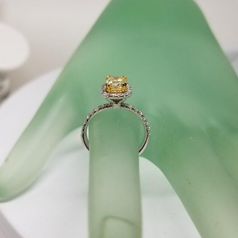 Women's or Men's 14 Karat White Gold GIA .90pts, Natural Fancy Yellow Diamond Halo Ring For Sale