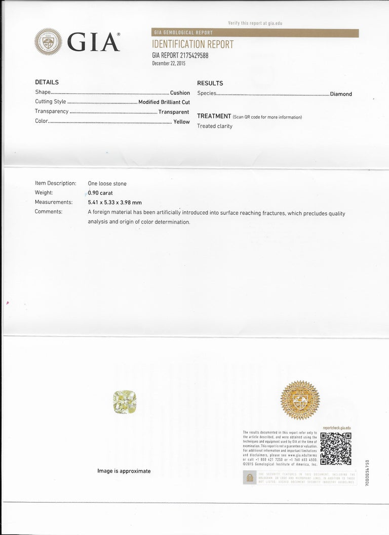 14 Karat White Gold GIA .90pts, Natural Fancy Yellow Diamond Halo Ring For Sale 2