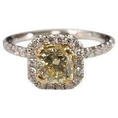 14 Karat White Gold GIA .90pts, Natural Fancy Yellow Diamond Halo Ring