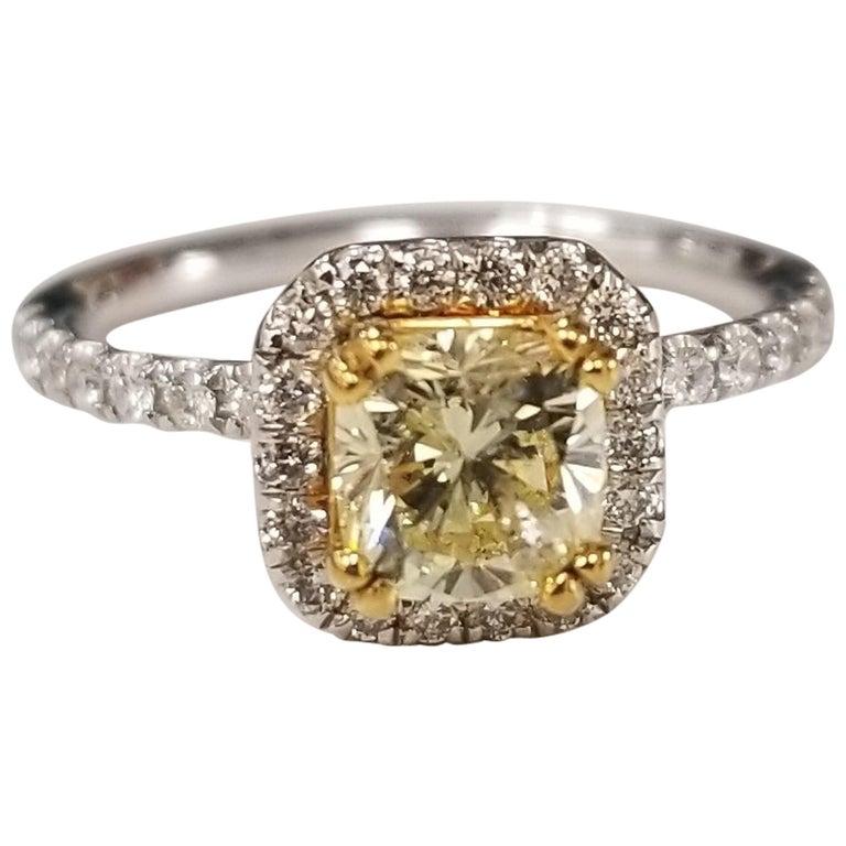 14 Karat White Gold GIA .90pts, Natural Fancy Yellow Diamond Halo Ring For Sale