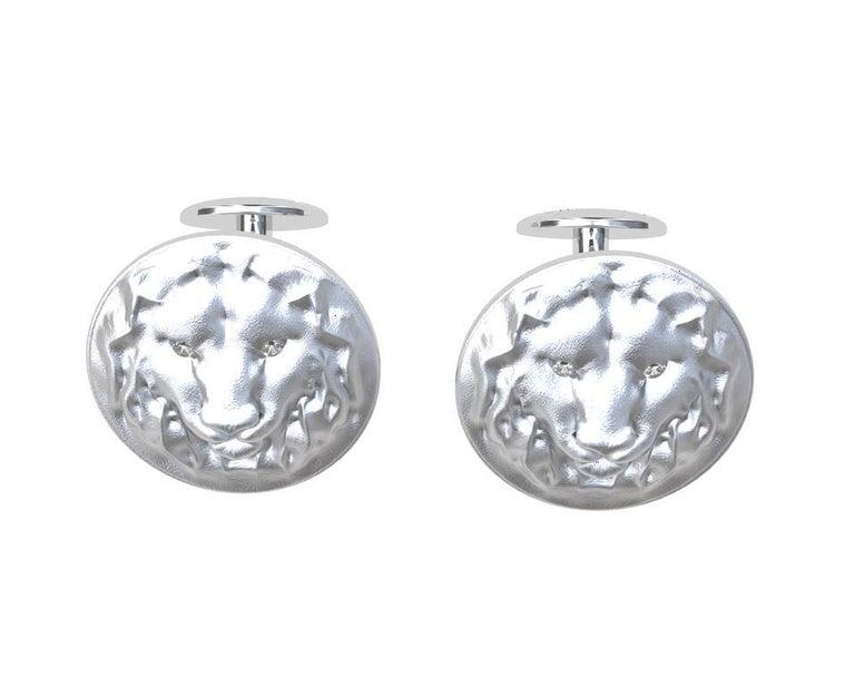 Contemporary 14 Karat White Gold GIA Diamond Lion Cufflinks For Sale