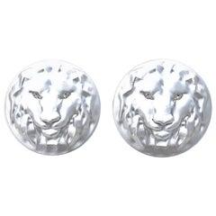 14 Karat White Gold GIA Diamond Lion Cufflinks
