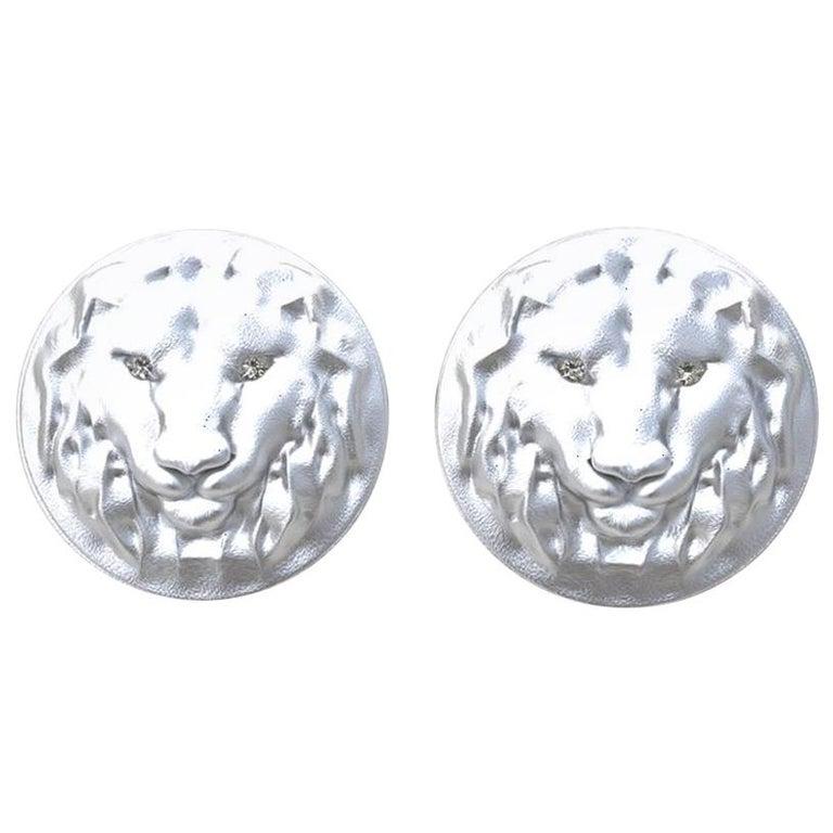 14 Karat White Gold GIA Diamond Lion Cufflinks For Sale