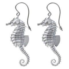 14 Karat White Gold GIA Diamond Sea Horse Earrings