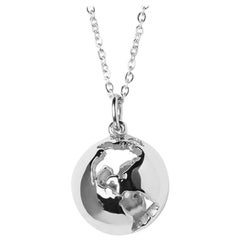 14 Karat White Gold Globe Map Pendant Necklace with Diamond Customization