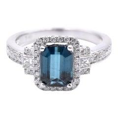 14 Karat White Gold Green Blue Tourmaline and Diamond Ring