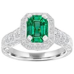 14 Karat White Gold Green Emerald Vintage Halo Diamond Ring 'Center, 1.43 Carat'