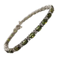 14 Karat White Gold Green Tourmaline and Diamond Bracelet