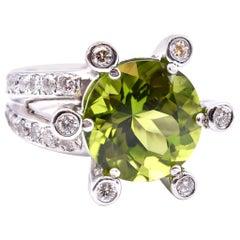 14 Karat White Gold Green Tourmaline and Diamond Prong Set Ring