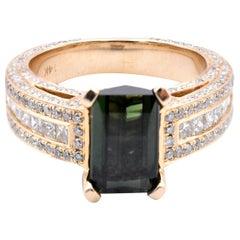 14 Karat White Gold Green Tourmaline and Diamond Ring