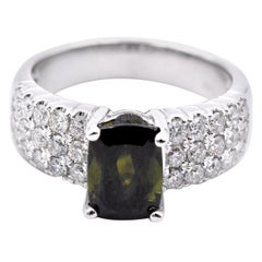 14 Karat White Gold Green Tourmaline and Diamond Ring