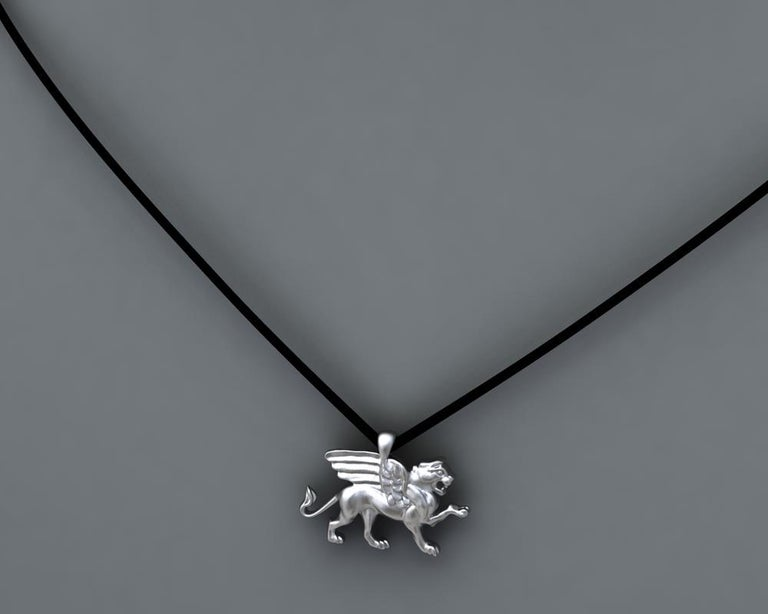 14 Karat White Gold Griffin Pendant Necklace In New Condition For Sale In New York, NY
