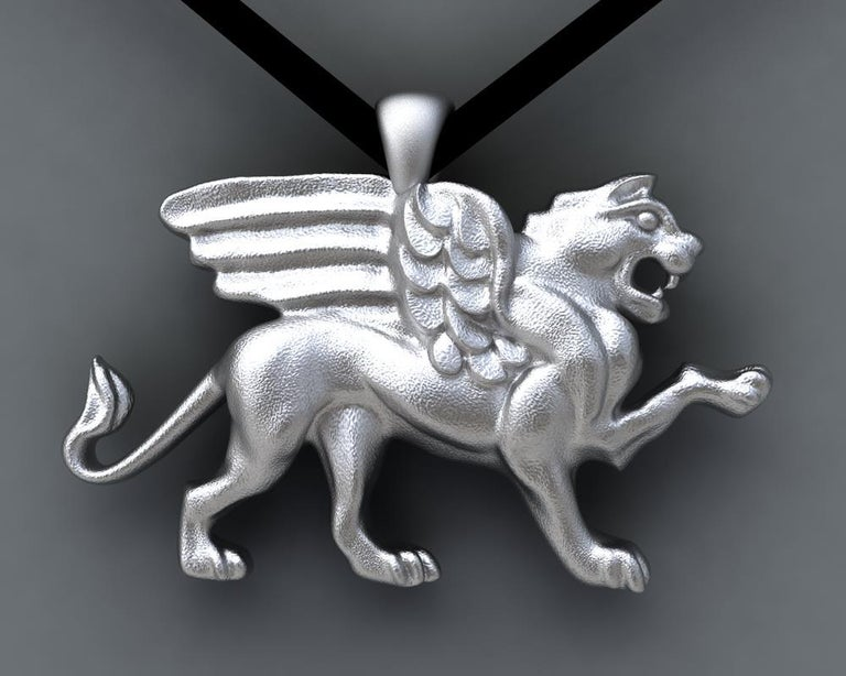 Women's or Men's 14 Karat White Gold Griffin Pendant Necklace For Sale