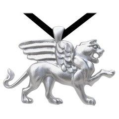 14 Karat White Gold Griffin Pendant Necklace
