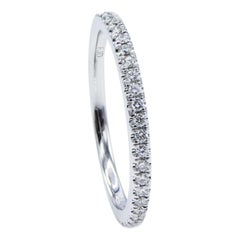14 Karat White Gold Half Diamond Stackable Wedding Band Ring