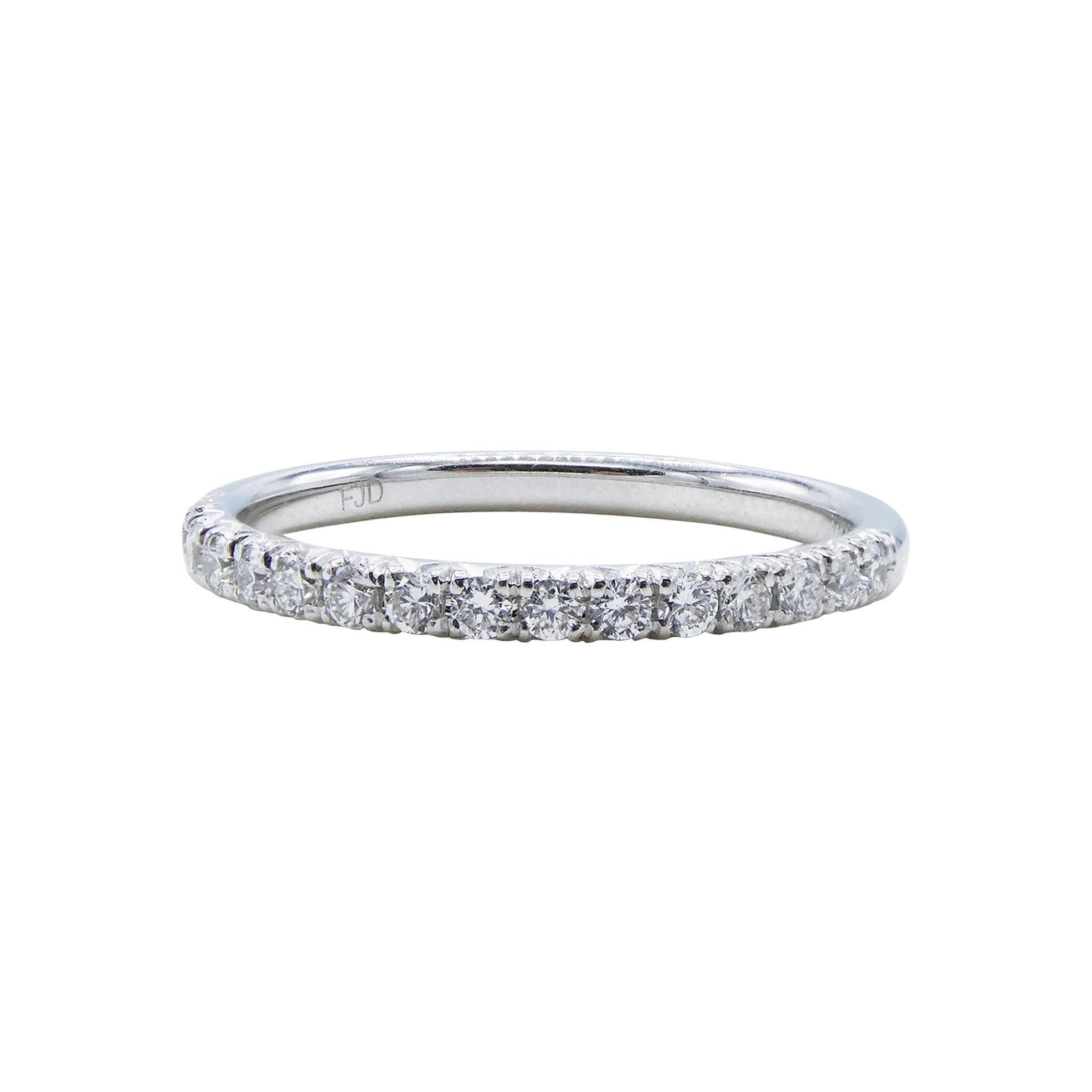 14 Karat White Gold Half Diamond Wedding Band Ring