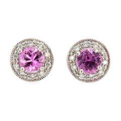 14 Karat White Gold Halo Diamond and Pink Sapphires Earrings '3/4 Carat'