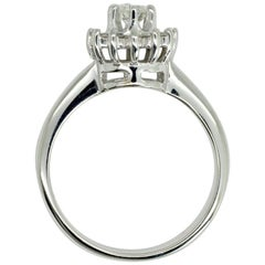 14 Karat White Gold Halo Diamond Ring with Approximately 0.29 Carat Total Weight