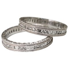 14 Karat White Gold Hand Engraved Diamond Square and Round Eternity Ring