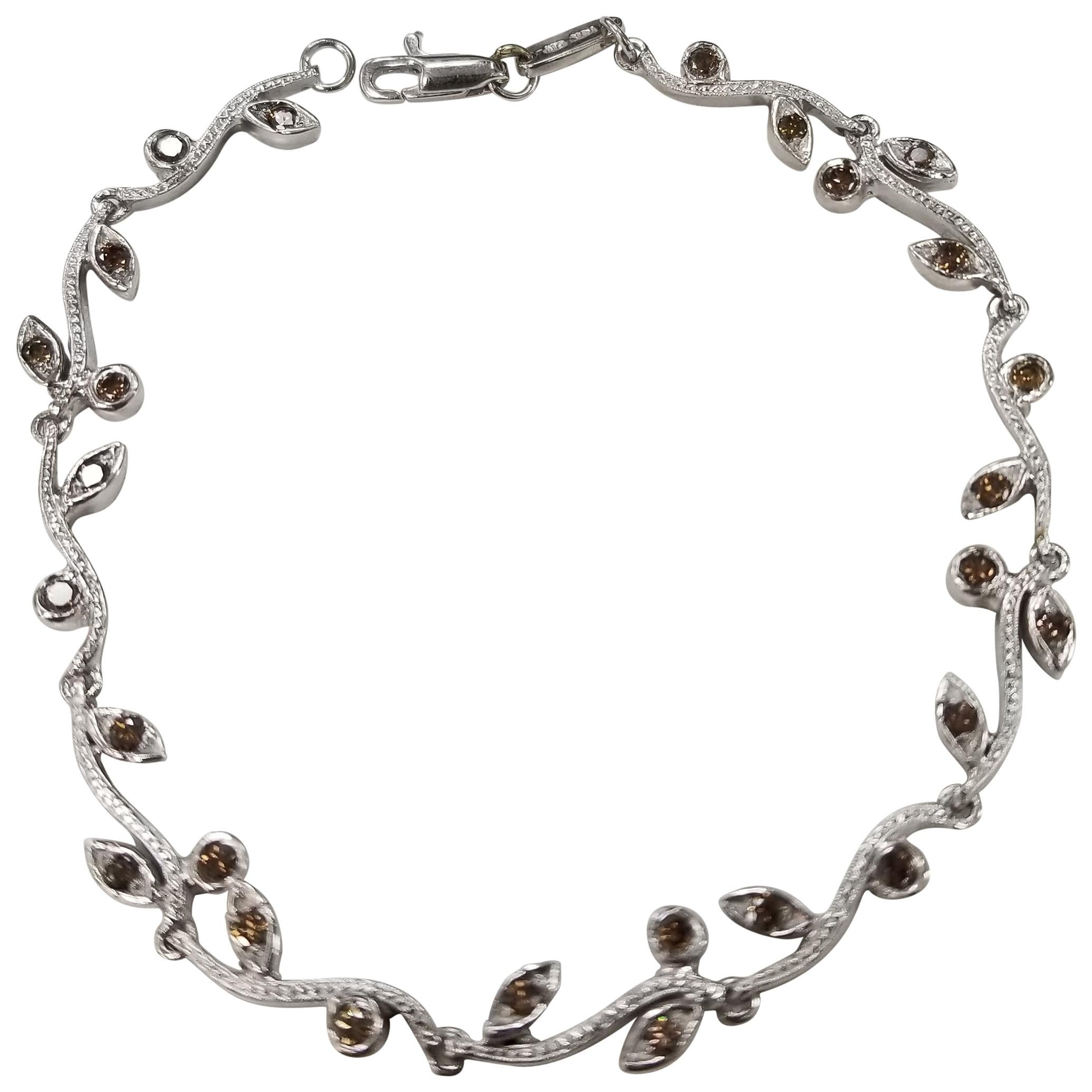 "14 Karat White Gold Hand Engraved ""Leaf"" Bracelet with Natural Brown Diamonds"