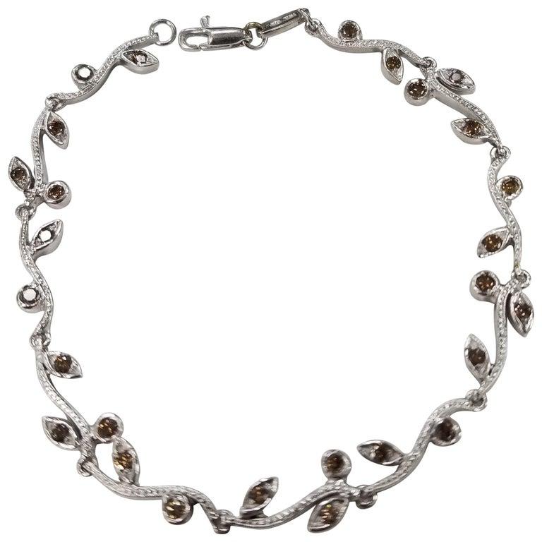 "14 Karat White Gold Hand Engraved ""Leaf"" Bracelet with Natural Brown Diamonds For Sale"