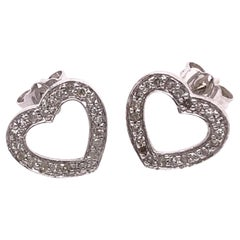 14 Karat white Gold Heart Button Earrings with Round Diamonds