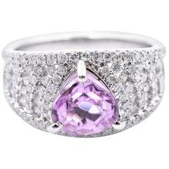 14 Karat White Gold Heart Cut Pink Topaz and Diamond Ring