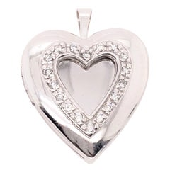 14 Karat White Gold Heart Locket Pendant with Diamonds