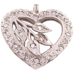14 Karat White Gold Heart Pendant with Diamonds