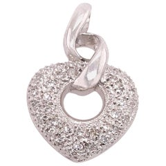 14 Karat White Gold Heart Pendant with Round Diamonds