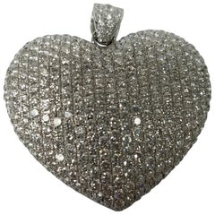 14 Karat White Gold Heart Shaped Diamond Pendant