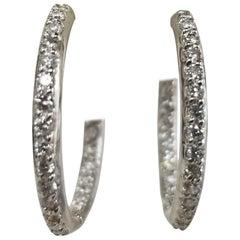 14 Karat White Gold Hoop Diamond Earrings