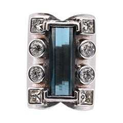14 Karat White Gold Indicolite Tourmaline and Diamond Fashion Ring