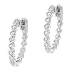 14 Karat White Gold InsideOut Hoop Diamond Earrings '4/5 Carat'