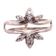 14 Karat White Gold Interlocking Engagement Ring Guard